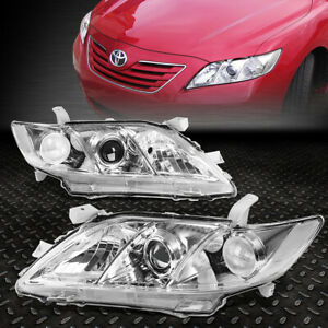 For 2007 2009 Toyota Camry Chrome Housing Clear Corner Projector Headlight lamp