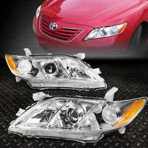 For 2007 2009 Toyota Camry Chrome Housing Amber Corner Projector Headlight lamp