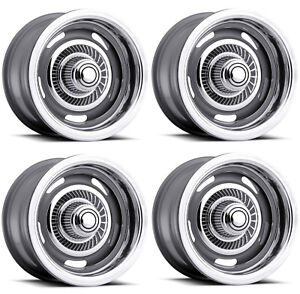 Vision Wheel 55 5761 Set Of 4 Silver 55 Rally 15x7 6mm Offset 5x4 75 Rims