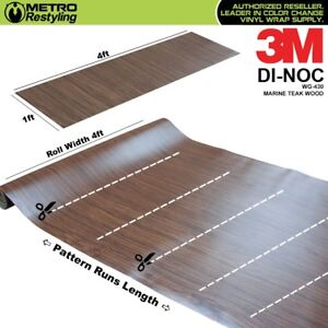 3m Di noc Marine Teak Wood Grain Vinyl Sheet Wrap Film Sticker Roll Adhesive
