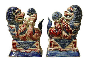 Pair Chinese Red White Blue Porcelain Foo Dog Figures Cs2370