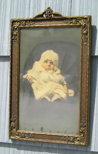 Amazing Aesthetic Eastlake Victorian Art Crafts Aged Picture Frame Baby 10 X 16