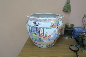Vintage Chinese Famille Rose Porcelain Planter Pot Koi Fish Bowl Jardiniere 12