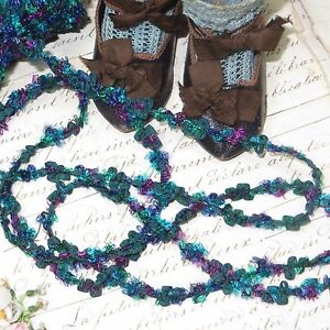 1y French Chenille Rococo Trim Teal Blue Rosette Vtg Antq Ribbon Doll Jacquard