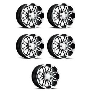 Vision Wheel 375 6873gbmf0 Set Of 5 Black W machined Face 375 Warrior 16x8 Rims
