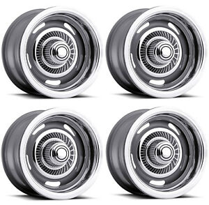 Vision Wheel 55 5461 Set Of 4 Silver 55 Rally 15x4 0 Offset 5x4 75 Rims
