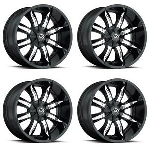 Vision Wheel 423 7993gbmf12 Set Of 4 Black W Machined Face 423 Manic 17x9 Rims