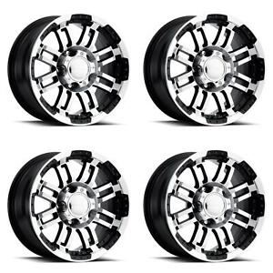 Vision Wheel 375 6885gbmf0 Set Of 4 Black W machined Face 375 Warrior 16x8 Rims