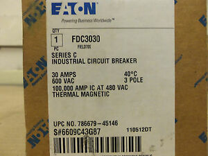 New In Box Cutler Fd Fdc Fdc3030 3 Pole 30 Amp 600 V Circuit Breaker