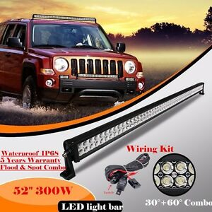 52inch 300w Led Work Light Bar Flood Spot Combo Driving Offroad 4wd Jeep Truck