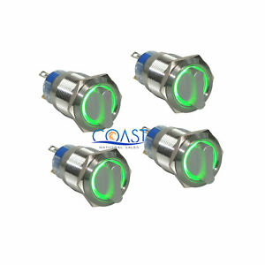 4x Durable 12v 19mm Car 2 Position On off Green Angel Eye Led Selector Switch