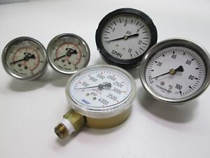 Lot Of 5 Pneumatic Pressure Gauges 1 4 Npt Air Liquid Filled Wika Ashcroft Du