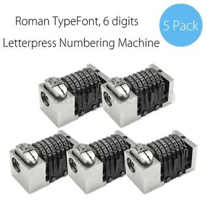 5x Letterpress Numbering Machine 6 Digits Backward For Heidelberg Windmill Kluge
