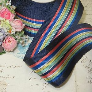 1y 1 5 French Navy Blue Stripe Grosgrain Ribbon Trim Hat Jacquard Vtg Fiesta