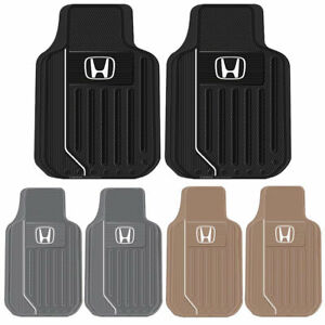 2pc Honda Elite Heavy Duty All Season Rubber Front Floor Mats Set Black Gray Tan