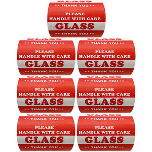 3 X 5 Handle With Care Glass Warning Label Sticker Semi Gloss 3500 Pieces