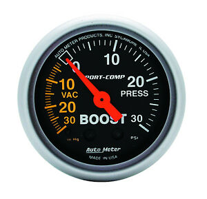 Auto Meter 3303 Sport Comp Mechanical Turbo Boost Vacuum Gauge 2 1 16 52mm