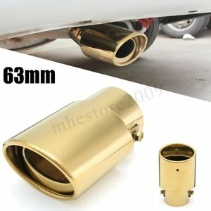 Universal Car 63mm Inlet Exhaust Muffler Tip Pipe Gold Stainless Steel Straight