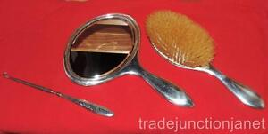Antique Webster Sterling Silver Mono Vanity Set Brush Beveled Mirror Button