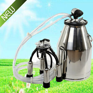 Portable Cow Milker Bucket Tank Milking Machine Barrel Adjustable Stainless Farm