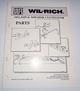 Wil rich 3411 3420 3450 Disk Cultivator Parts Catalog Book Manual