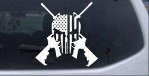 Punisher American Flag Crossed Ar15 Guns Car Truck Window Laptop Decal Sticker