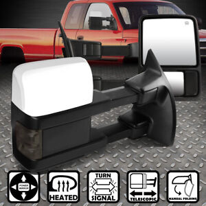 For 08 16 Ford Superduty Power Heated Smoked Led Signal Side Towing Mirror Pair