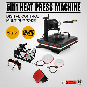 5in1 Heat Press Machine Digital Transfer Sublimation T shirt Mug Hat Plate Cap