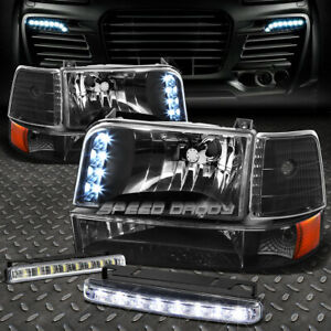 Black Led Headlight Amber Corner 8 Led Grill Fog Light For 92 96 F150 F250 350