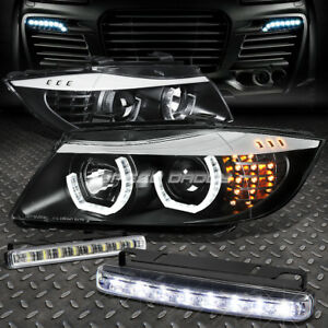 Black Halo Projector Headlight corner 8 Led Grill Fog Light For 09 12 Bmw E90