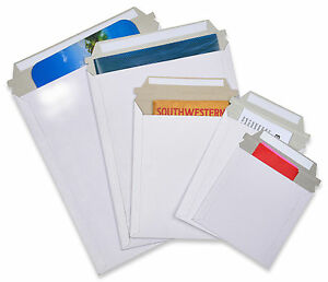 100 12 75x15 Rigid Photo White Cardboard Envelopes Mailers Stay Flat Express