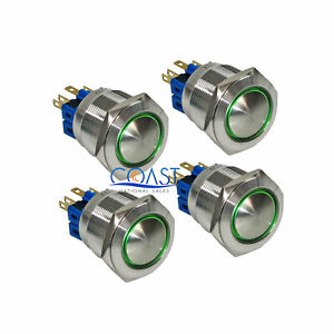 4x Durable 12v 25mm Car Latching Push Button Domed Green Angel Eyes Led Switch