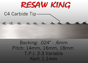 1 X 12 14 16mm Vari Tooth Pitch X 148 Resaw King Carbide Tipped Bandsaw Blade