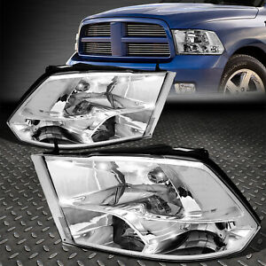 For 2009 2018 Dodge Ram Pickup Chrome Housing Clear Side Quad Headlight lamp Set