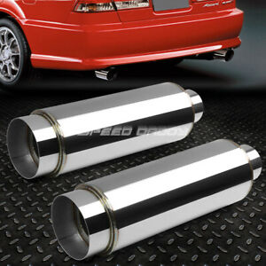 2x 3 inlet With 4 5 chrome Tip silencer T304 Steel Racing Round Exhaust Muffler