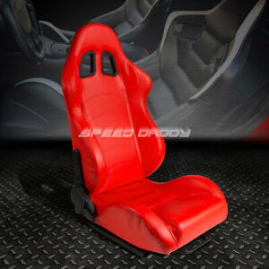 Full Reclinable Pvc Leather Sports Racing Seat mount Slider Red Passenger Side