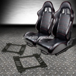 2 Pvc Leather Red Stitches Racing Seats bracket For 05 14 Ford Mustang gt S 197