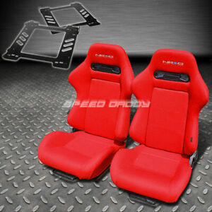 Pair Nrg Type r Style Red Cloth Racing Seat bracket For 92 99 Bmw E36 2 door