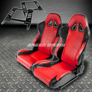 Pair Type 5 Reclining Black Red Woven Racing Seat Bracket For 00 05 Eclipse 3g