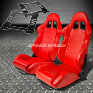 Pair Type 1 Reclining Red Pvc Leather Racing Seat Bracket For 92 99 E36 2 Door