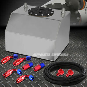4 Gallon 15 Liter Aluminum Racing Fuel Cell Gas Tank Cap Nylon Braided Line Kit