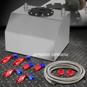 4 Gallon 15 Liter Aluminum Racing Fuel Cell Gas Tank Cap Steel Braided Line Kit