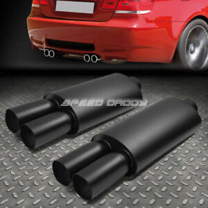 2x 2 5 inlet 3 black Dual Square Tip T304 Stainless Racing Oval Exhaust Muffler