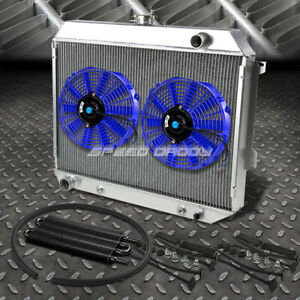 3 Row Aluminum Radiator 2x 12 Fan Blue Black Oil Cooler For 68 73 Satellite Gtx