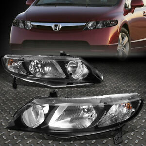 For 06 11 Honda Civic Sedan Pair Black Housing Clear Corner Headlight Head Lamp