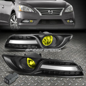 For 13 16 Nissan Sentra 4dr Yellow Lens Oe Driving Pair Fog Light Lamp switch