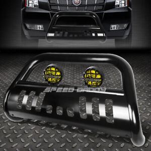 Black 3 Bull Bar Grille Guard Yellow Fog Light For 07 14 Suburban Tahoe Escalade