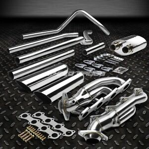 Dual 3 5 Slant Tip Stainless Catback Header Exhaust For 04 08 Ford F150 4 6 V8