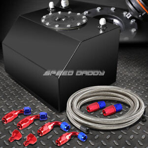 4 Gallon 15 Liter Coated Aluminum Racing Fuel Cell Gas Tank Cap Nylon Line Kit