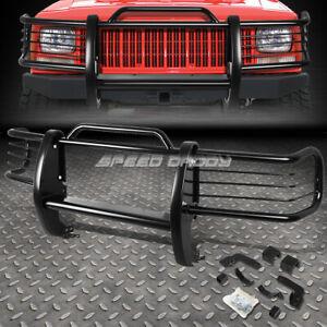 For 84 01 Jeep Cherokee Xj Suv Black Coated Mild Steel Front Grill Frame Guard